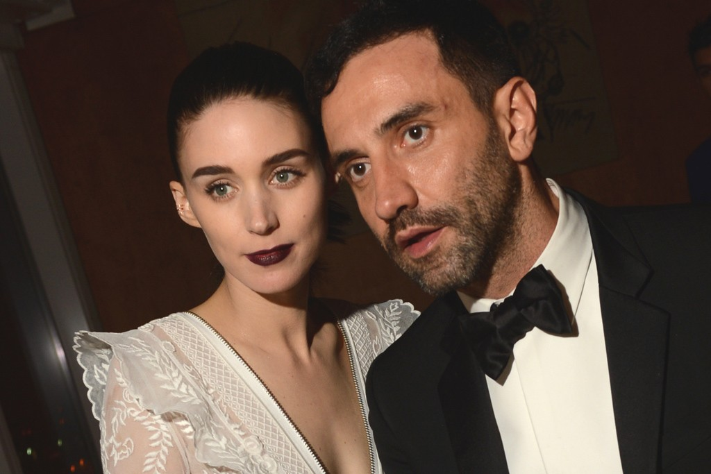 Rooney Mara and Riccardo Tisci, both in Givenchy.