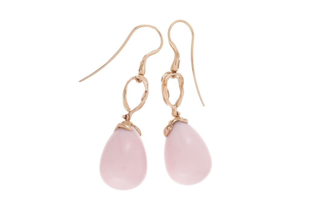 Lucifer Vir Honestus' 18-karat rose gold and pink opal earrings.