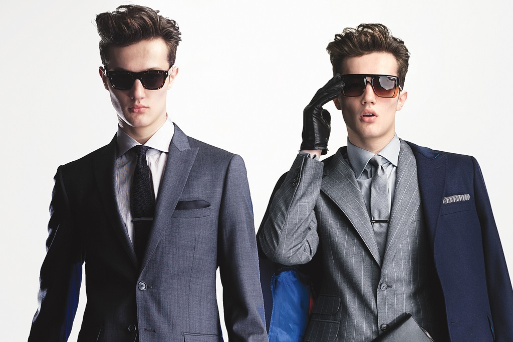Suits from Elie Tahari and Joseph Abboud.