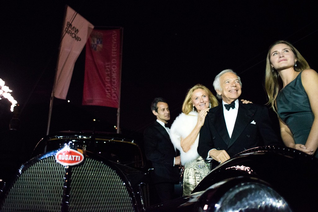 Ralph Lauren with his prizewinning Bugati 57SC Atlantic at Villa D'Este.
