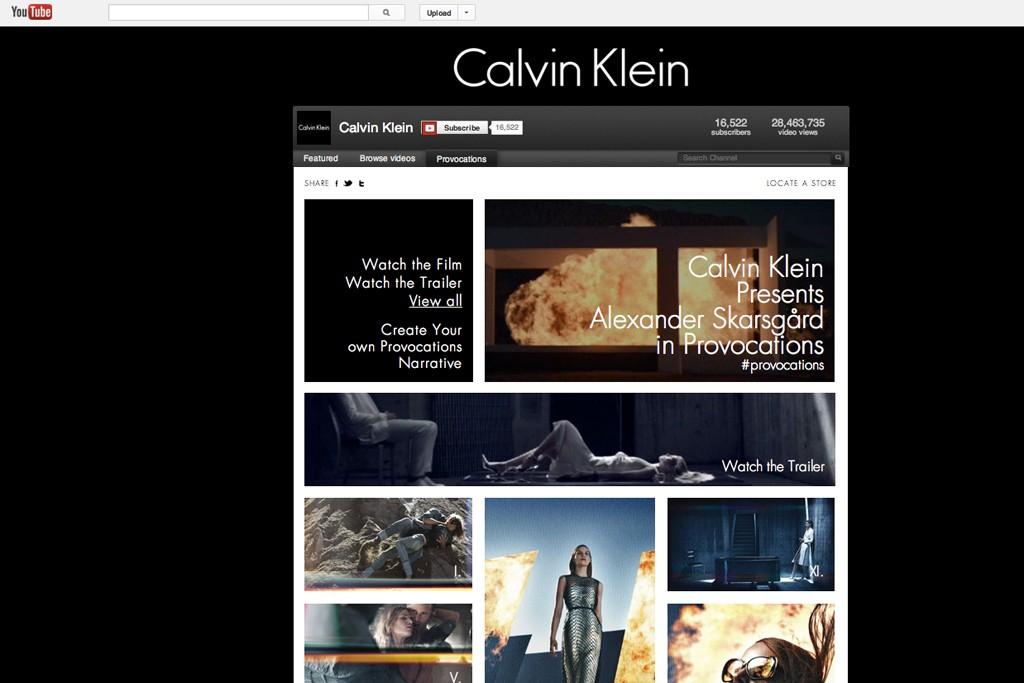 Calvin Klein's YouTube channel.