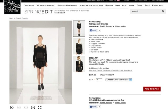 A product page featuring video on Saks.com