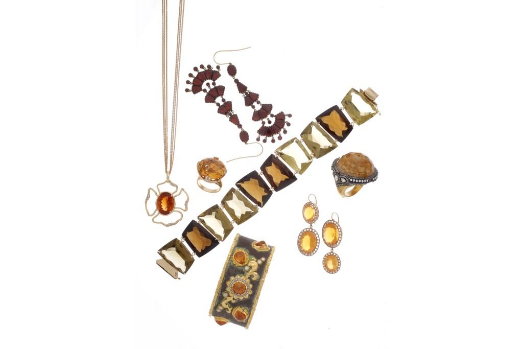 Clockwise from the top: Fred Leighton earrings; Vianna bracelet; Sevan Biçakçi ring; Andrea Fohrman earrings; Victor Velyan bracelet; Mark Patterson necklace; Bulgari ring