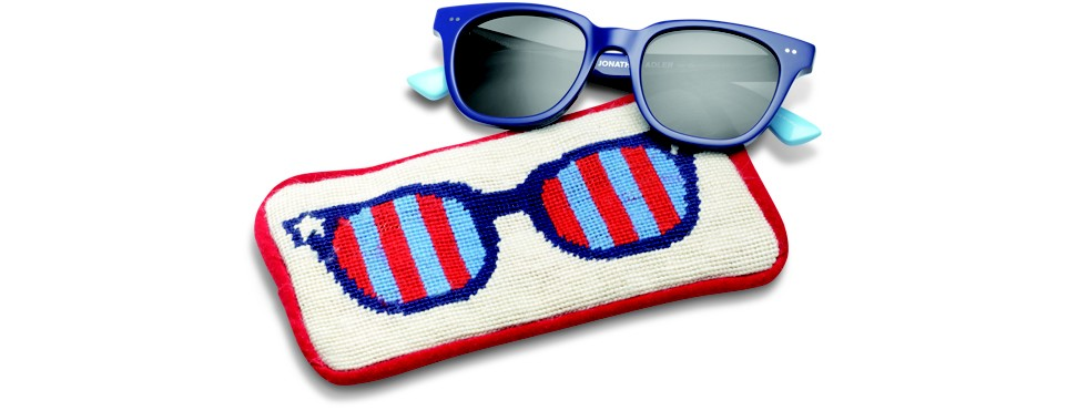 Sunglasses and eyewear case by Toms and Jonathan Adler.