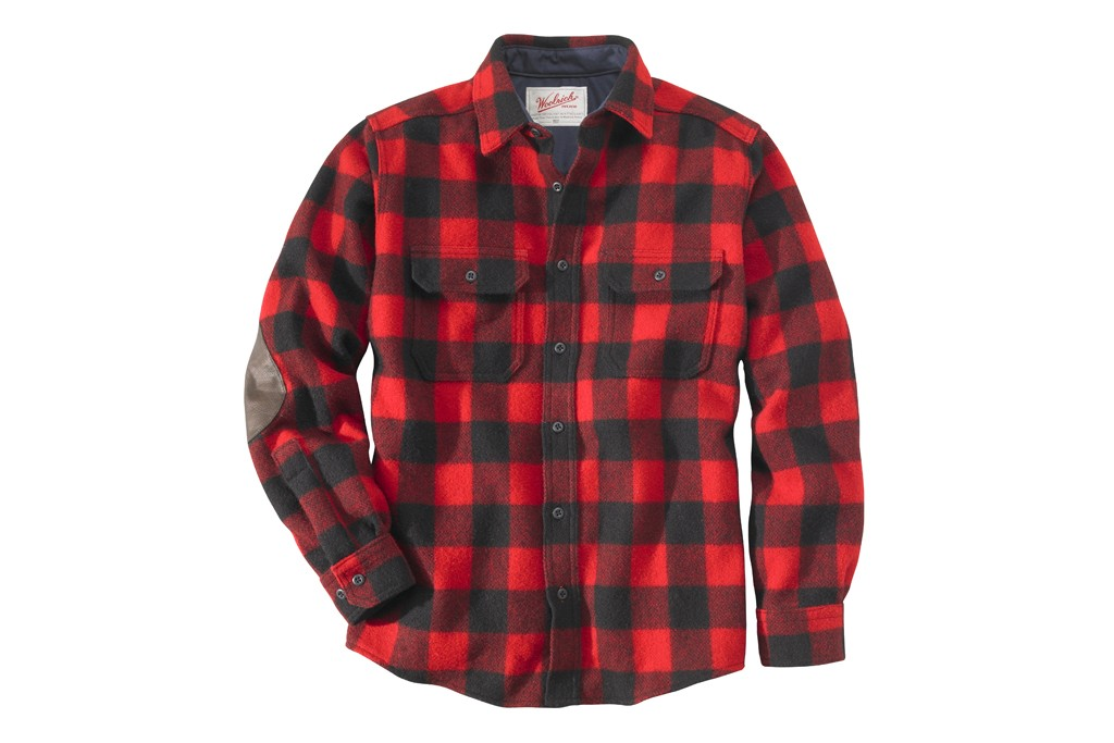 The shirt-jac in Woolrich's signature buffalo plaid.