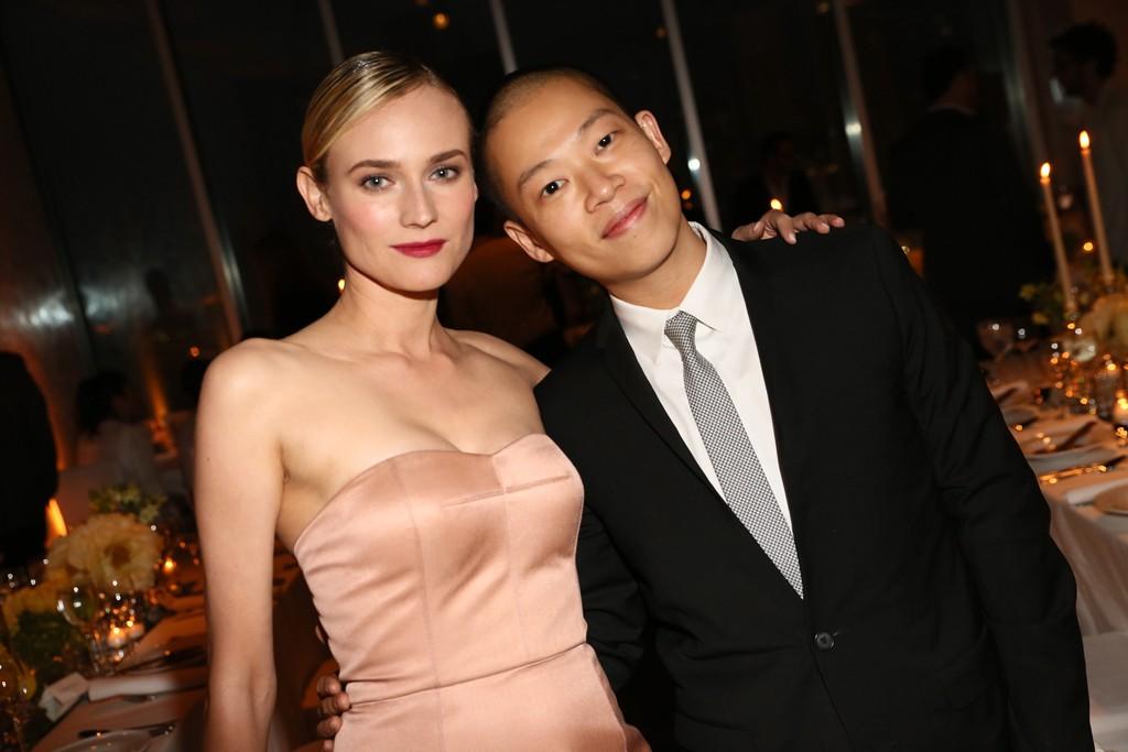 Diane Kruger in Jason Wu with the designer.