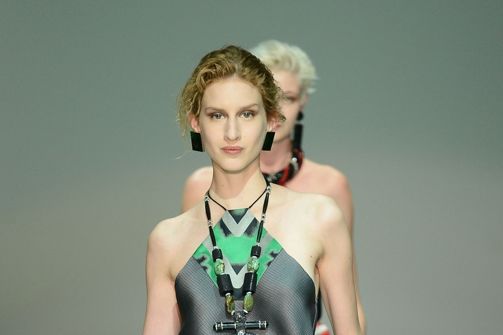 """A look from the runway show at Giorgio Armani's """"One Night Only Roma"""" event."""