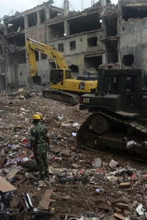 The scene at The Rana Plaza garment factory.