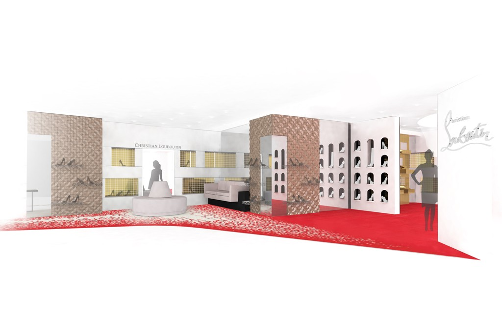 A rendering of the Christian Louboutin shop inside Saks Fifth Avenue.