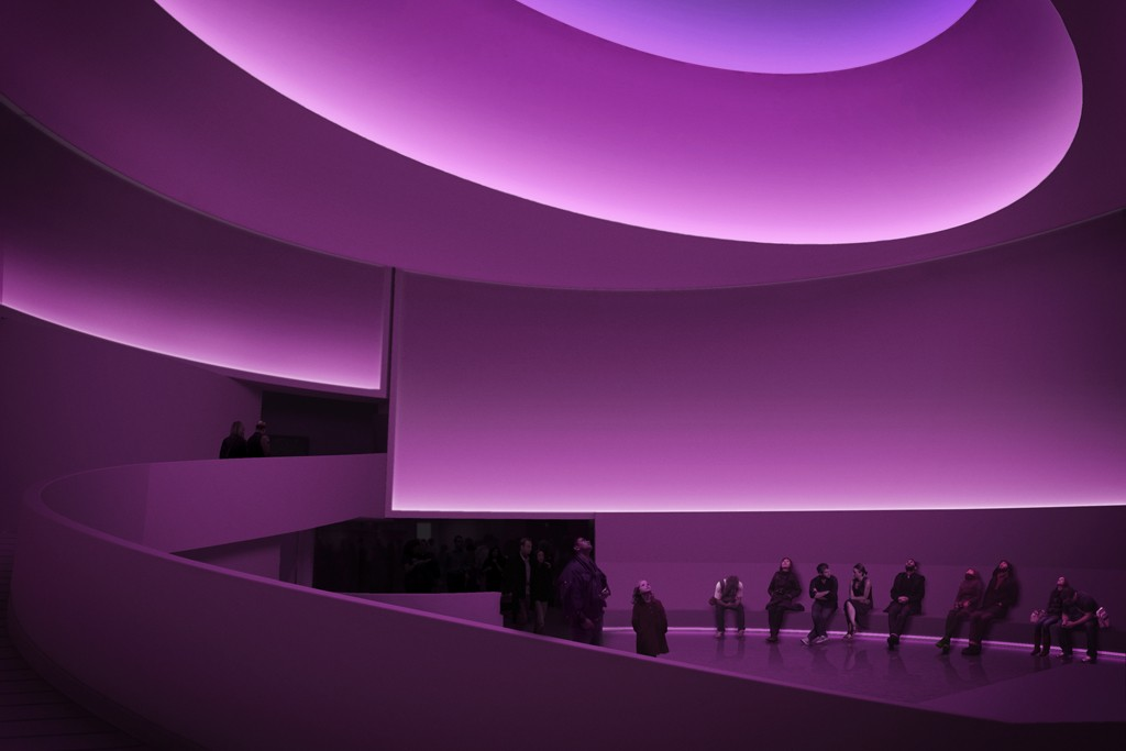 A rendering of the James Turrell exhibition opening June 21 at the Guggenheim Museum, New York. Turrell will be honored at the Guggenheim International Gala, sponsored by Christian Dior, in November.