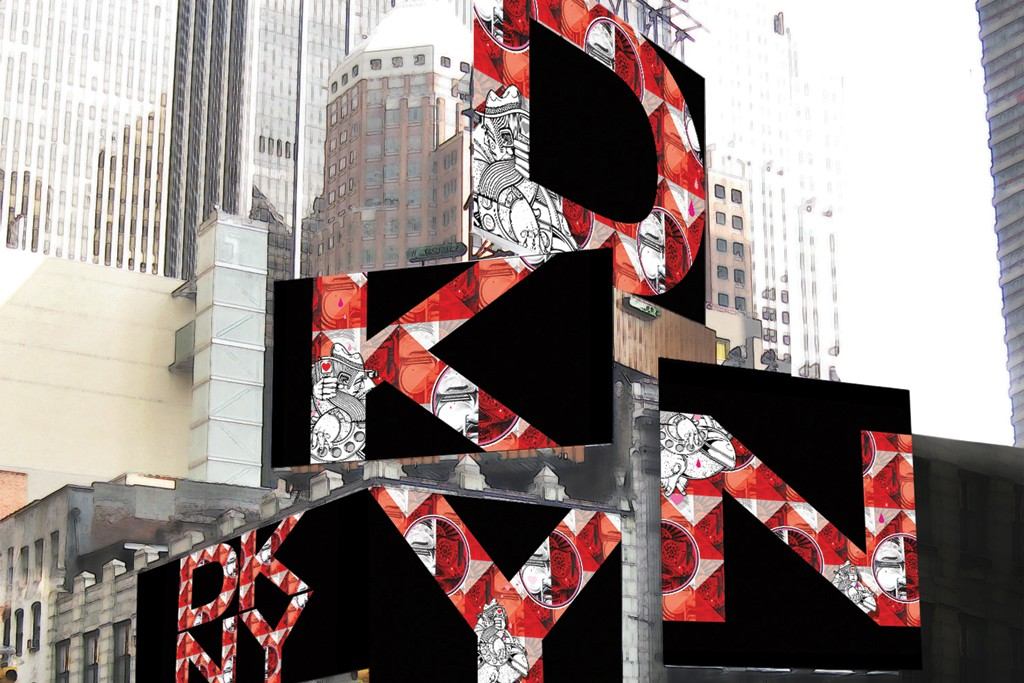 Twin brother artists How and Nosm created an installation of the four large-letter billboards for Times Square.