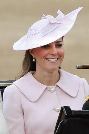 The Duchess of Cambridge in a Alexander McQueen coat and hat.
