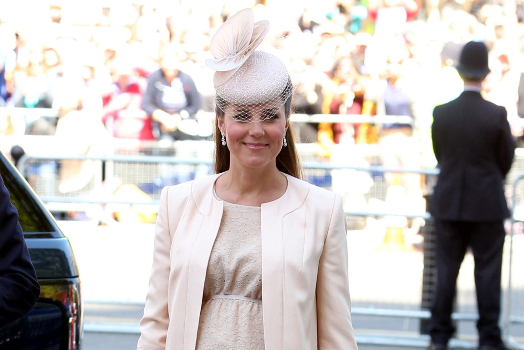The Duchess of Cambridge in Jenny Packham at Westminster Abbey.