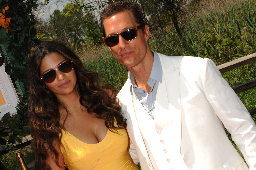 Camila Alves in Hervé Léger and Matthew McConaughey in Dolce & Gabbana.