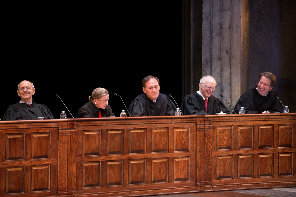 """Justice Stephen Breyer, Justice Ruth Bader Ginsburg, Justice Samuel Alito, Judge Douglas Ginsburg and Judge Brett Kavanaugh at the Shakespeare Theatre Company's Mock Trial 2013, """"The Pen vs. The Sword."""""""
