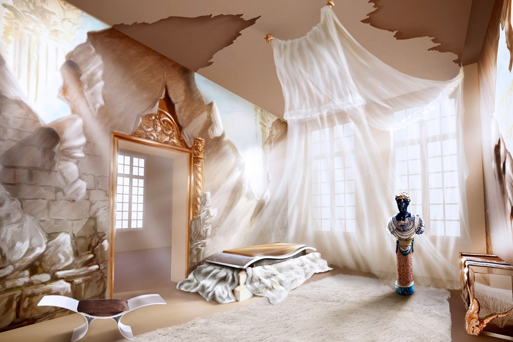 A rendering of a room imagined by Maria Pergay and Fendi for AD Intérieurs.