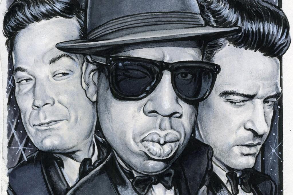 Jay-Z with Jimmy Fallon and Justin Timberlake.