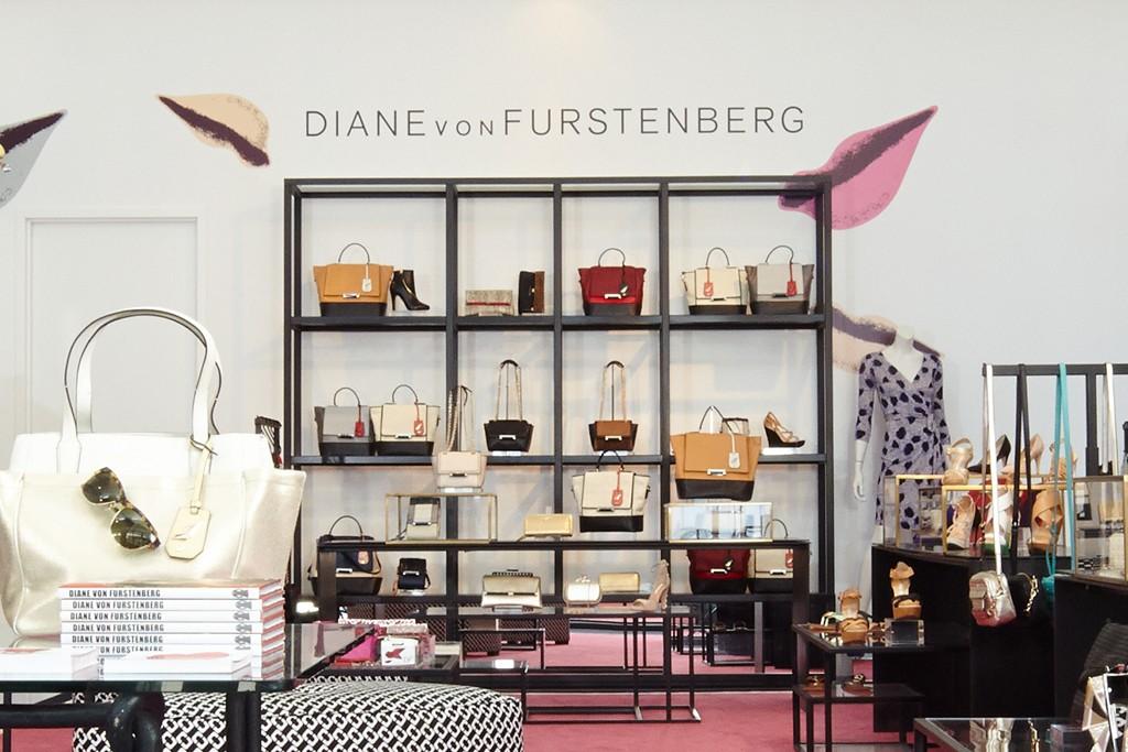 A view of Diane Von Furstenberg's accessory shop.