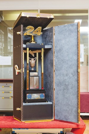 The trophy case being made in Louis Vuitton's Asnières workshop.
