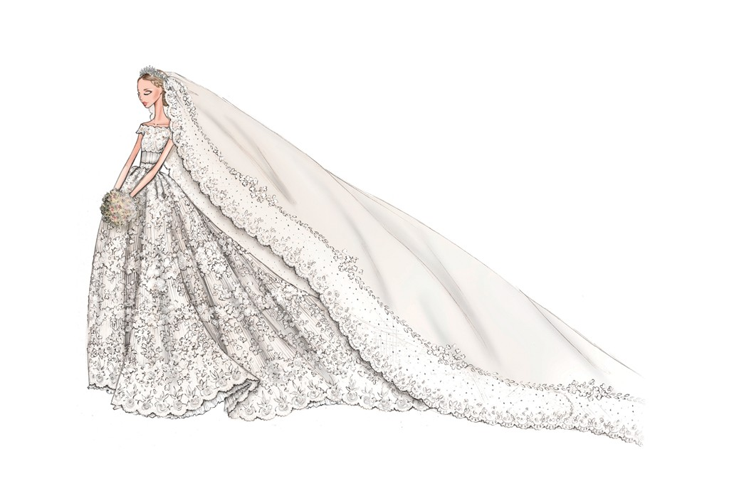 Valentino's sketch of his wedding gown for Princess Madeleine of Sweden.