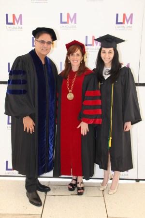 Mark Mendelson, LIM College president Elizabeth S. Marcuse and valedictorian Samantha Mellone.