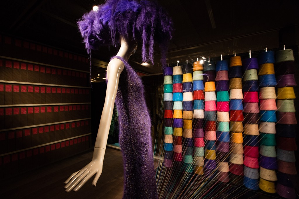 Colors of signature Camelot mohair yarn in the Lineapiu Museum.