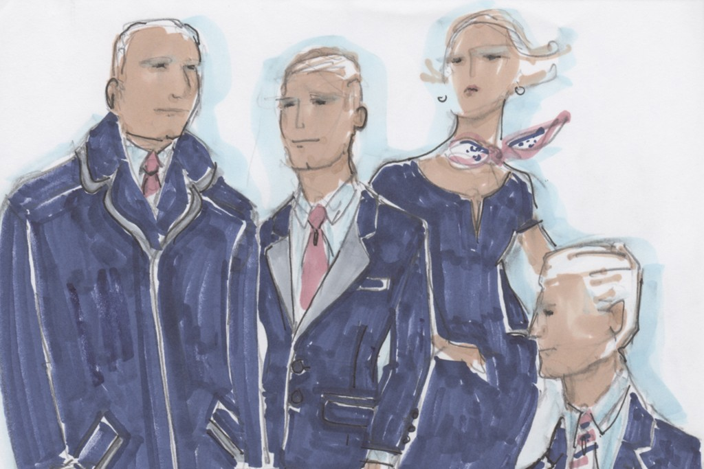 A sketch of the new uniforms for the Loews Regency Hotel, designed by Stan Herman.