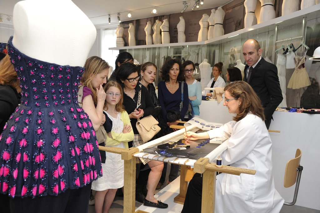 A demonstration by embroidery house Vermont at Dior.