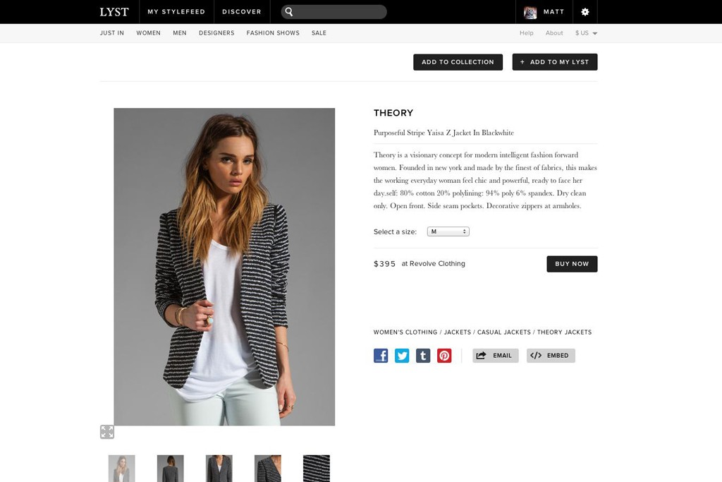 A checkout page from Lyst.com.