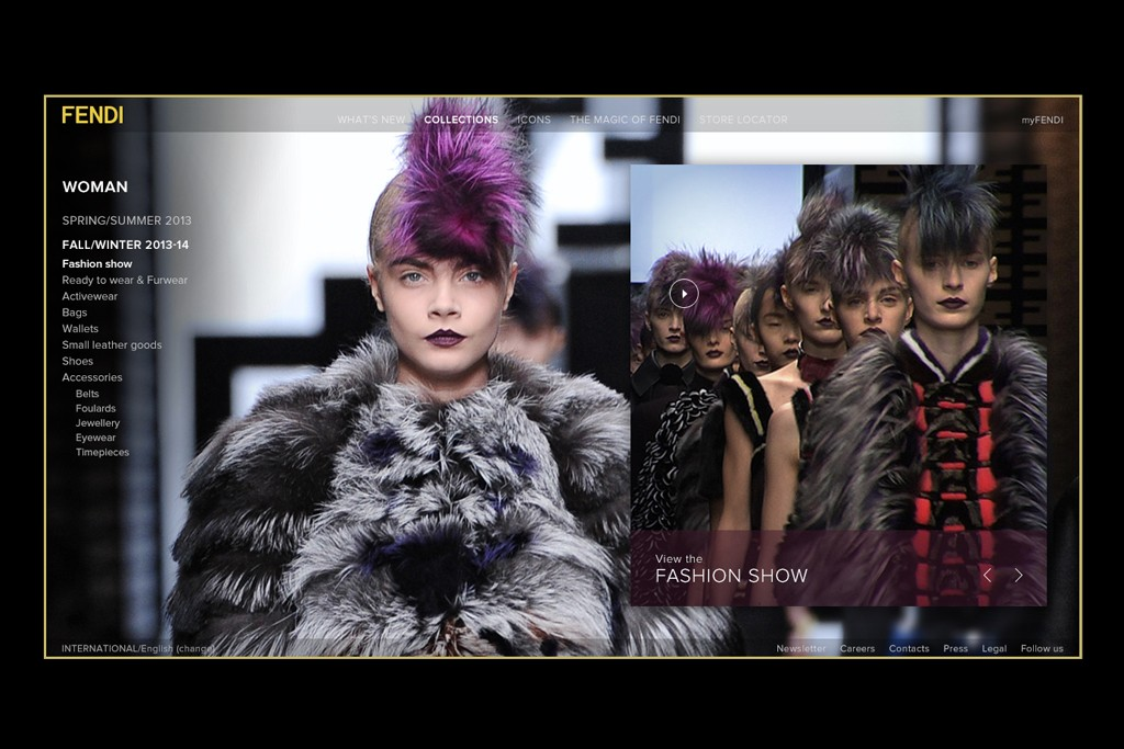 A page view of the new Fendi Web site.