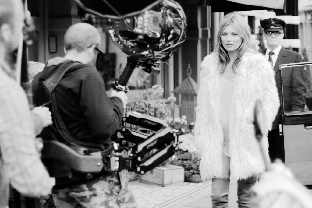 Kate Moss on the Stuart Weitzman film shoot, directed by Balthazar Klarwein.