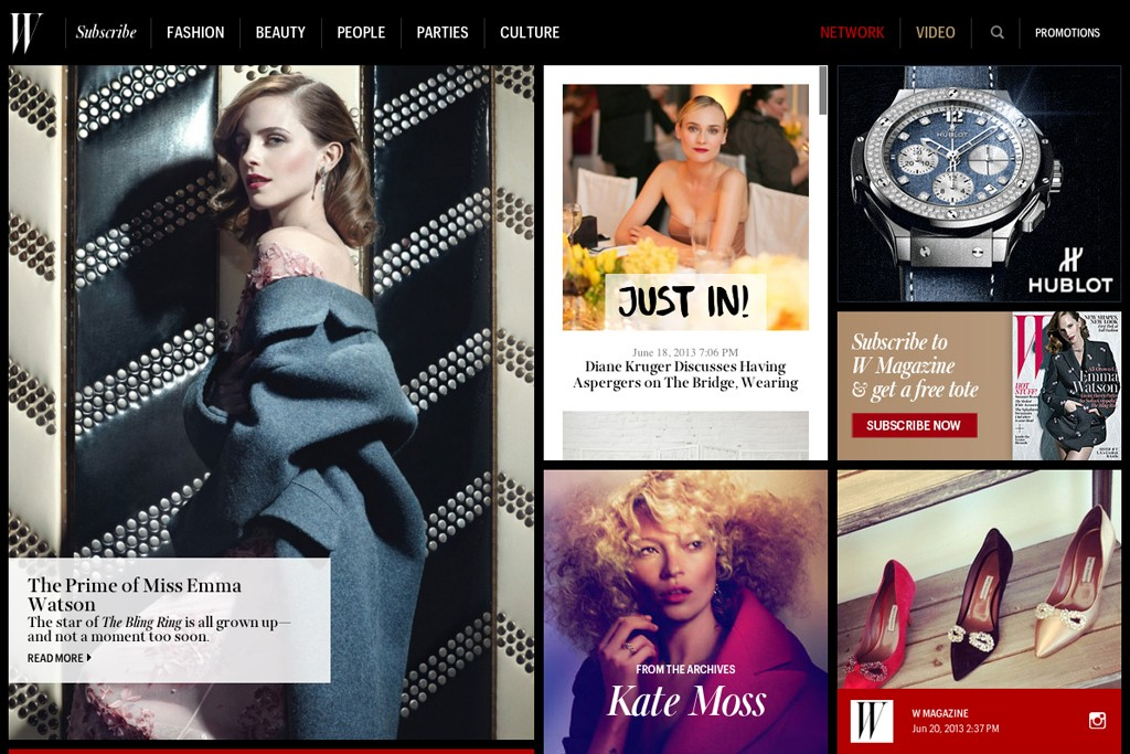 The homepage of the redesigned W magazine Web site.