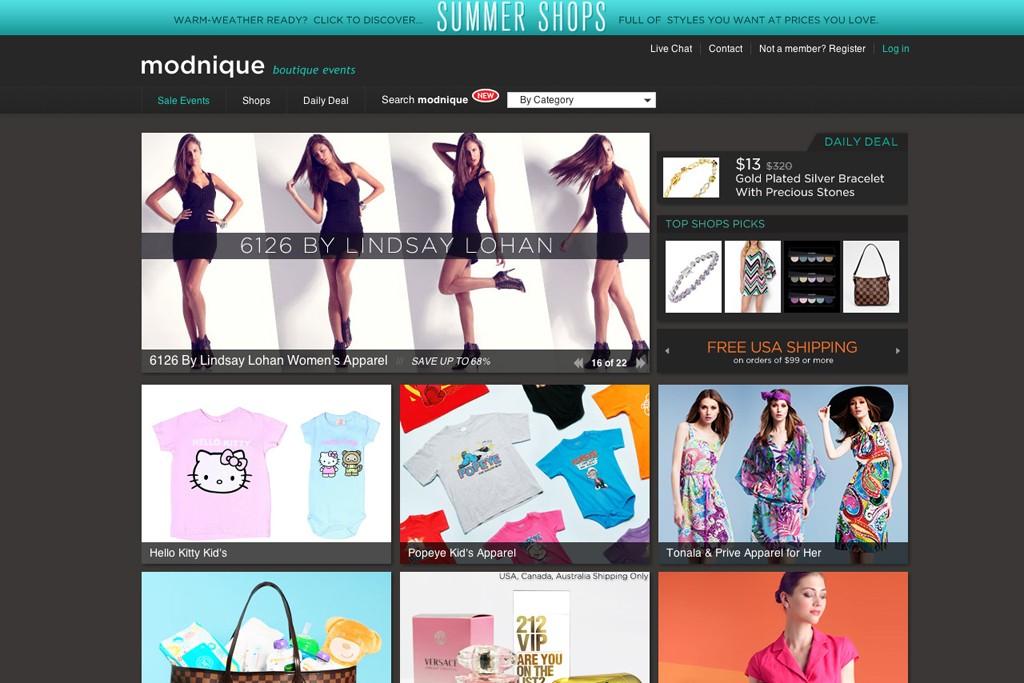 The Modnique.com homepage.