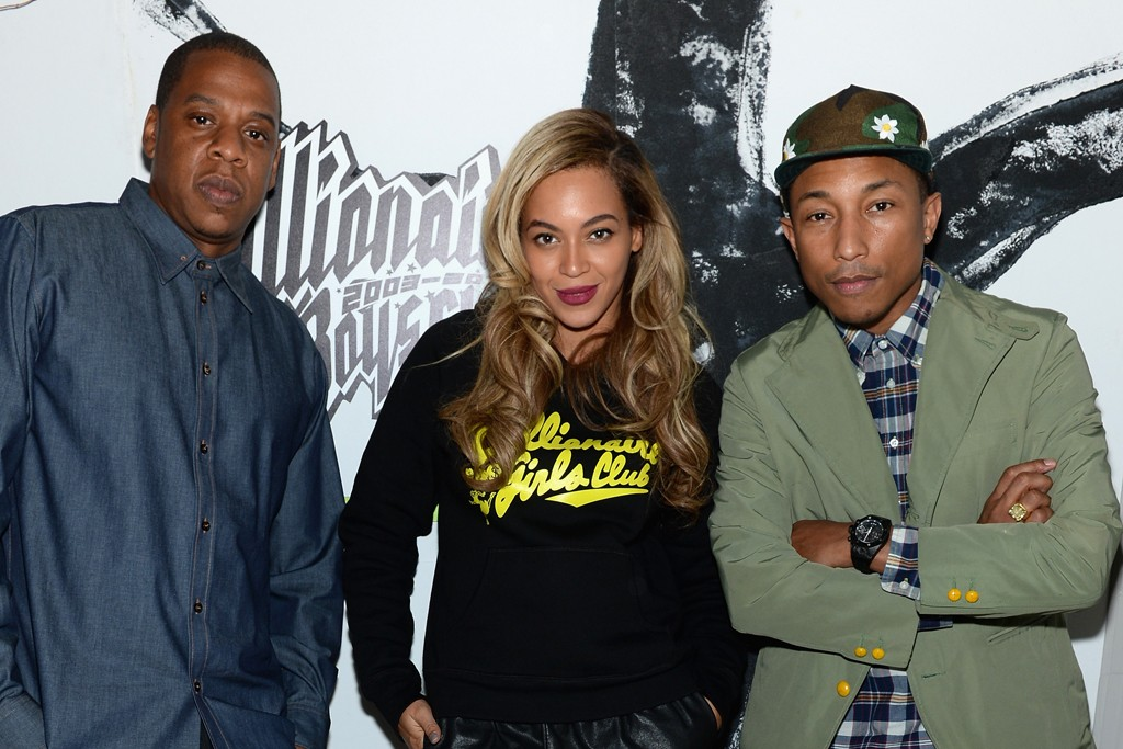 Jay-Z, Beyoncé in Billionaire Girls Club and Pharrell Williams.