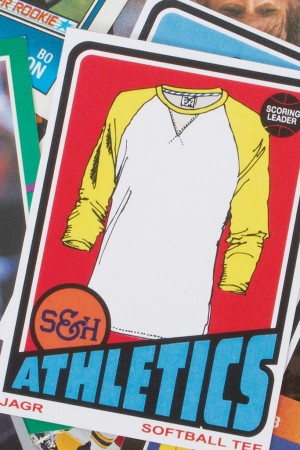 The S&H Athletics look book mimics a packet of baseball cards.