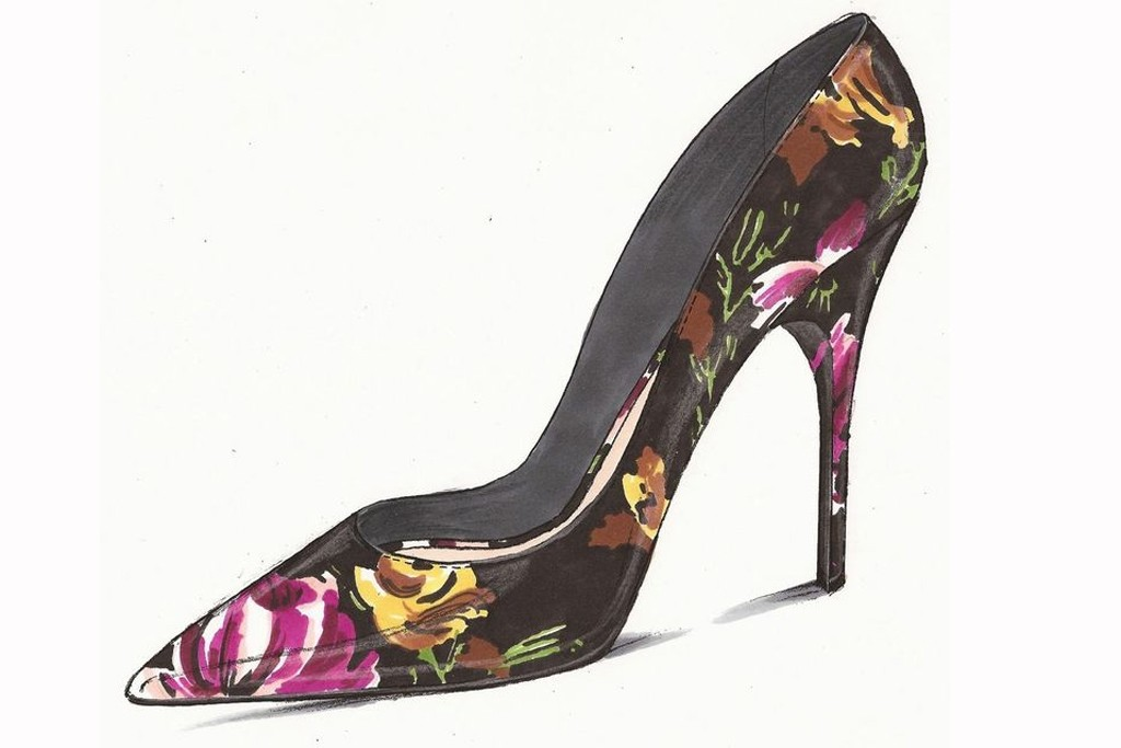 A sketch of Palter DeLiso's Fancy pump in black, fuchsia and ochre floral print.
