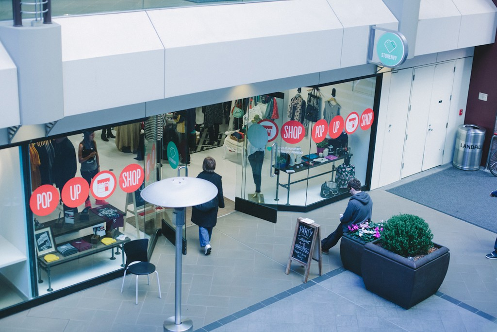 Images of pop-up shops arranged by Storefront.