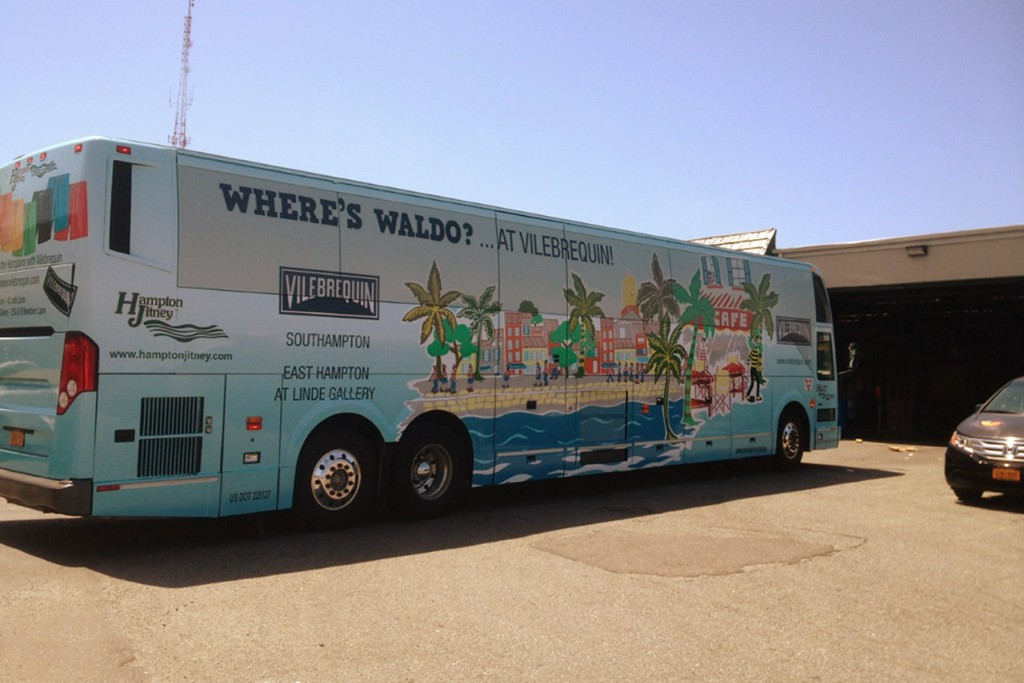 A Hampton Jitney wrapped in honor of Where's Waldo's 25th anniversary and a collaboration with Vilebrequin.