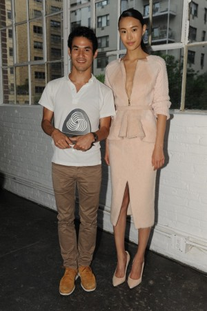 Joseph Altuzarra and a model wearing the winning design.