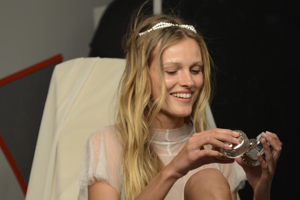 Behind the scenes at Bulgari's Omnia Crystalline eau de parfum campaign shoot featuring Edita Vilkeviciute.