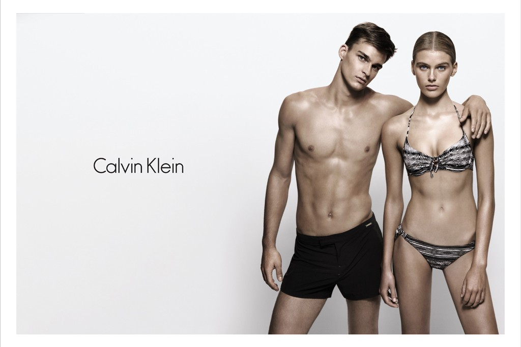 A marketing image for Calvin Klein Swimwear for spring 2014.