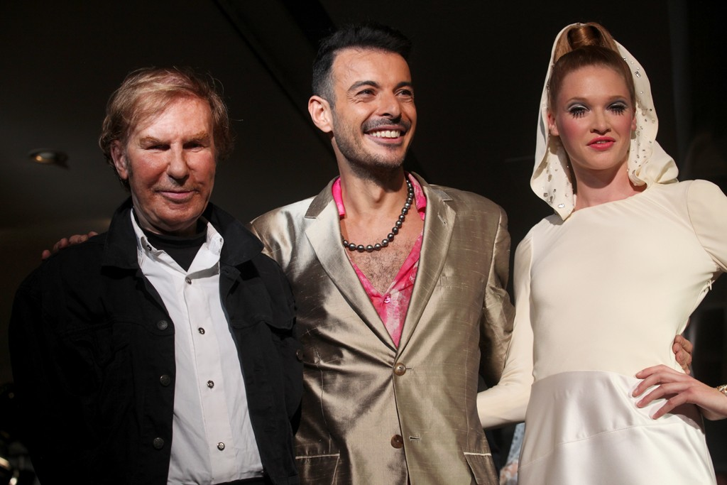 Claude Montana, Eric Tibusch and the fall couture '13 collection's model bride.