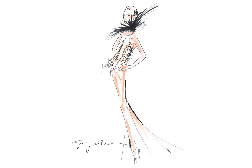 A sketch of Armani Privé, to be presented in Paris on July 2.