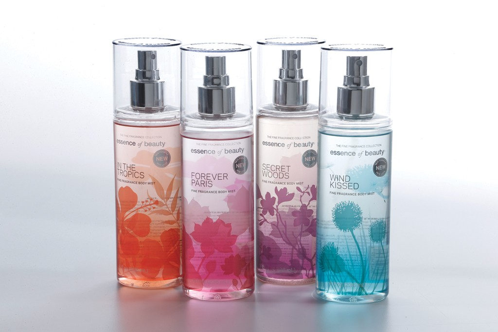 Body mists from Essence of Beauty.