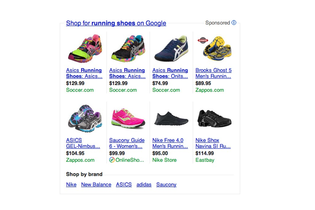 Google shopping results.