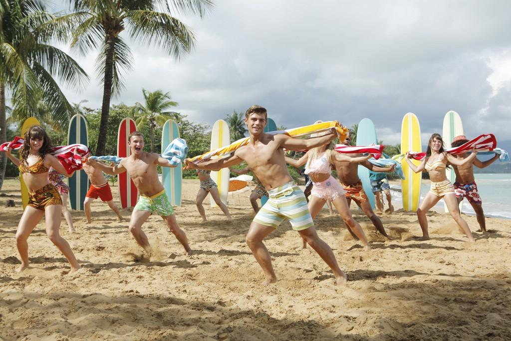 """Garrett Clayton, center, as Tanner in """"Teen Beach Movie."""""""