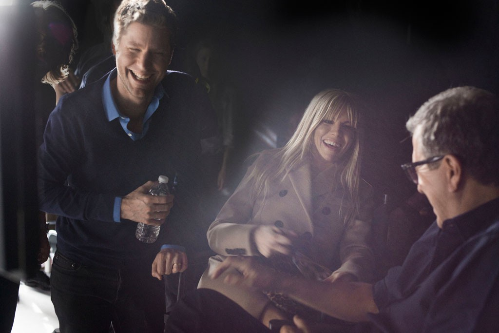 Christopher Bailey, Sienna Miller and Mario Testino behind the scenes at Burberry's fall 2013 campaign shoot.