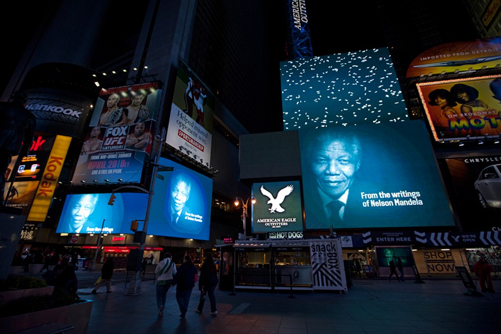 In honor of Nelson Mandela's 95th birthday Thursday, a short film highlighting words from his more powerful speeches will be shown on billboards in Times Square.