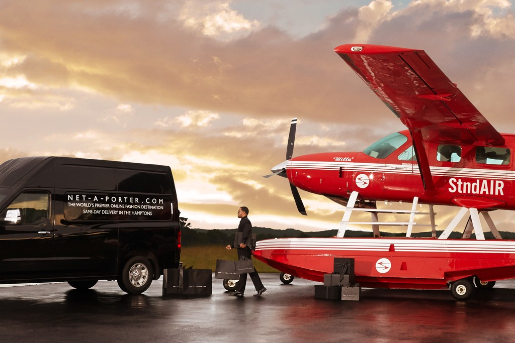 Net-A-Porter offers same-day Hamptons deliveries via The Standard's seaplane this summer.