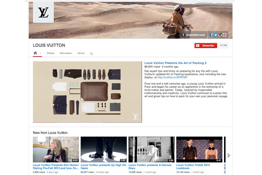 Louis Vuitton's YouTube channel.